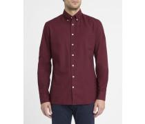 Bordeauxrotes Slimfit-Oxford-Hemd mit Kragen zum Knöpfen