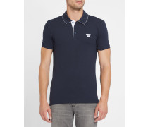 Marineblaues Slim-Fit-Poloshirt Innenkragen Armani-Logo