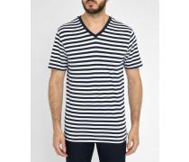 Gestreiftes T-Shirt Thomas weiß - marineblau