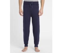 Marineblaue Pyjamahose in Strickstoff