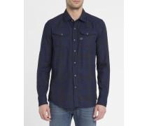 Blau-grau kariertes Hemd mit Druckknöpfen Tacoma Shirt