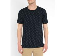Blaues T-Shirt mit Rundhalsausschnitt und All-Over-Motiv Delta
