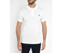 Weißes Classic-Polohemd aus mercerisiertem Baumwoll-Piqué