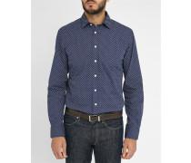 Marineblaues Slimfit-Hemd mit Minimotiv