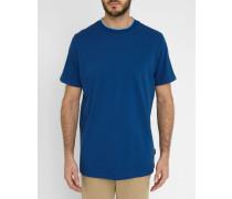 Piqué-T-Shirt Blau mit Kontrastpaspel