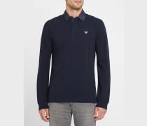 Marineblaues Poloshirt ML aus Baumwoll-Piqué mit Jeanskragen