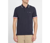 Marineblaues Poloshirt aus Piqué mit Farbkontrasten