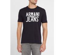 Marineblaues T-Shirt mit Rundhalsausschnitt und Brustlogo AJ