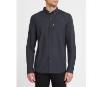 Anliegendes Hemd ButtonDown Kieran mit Mikrokaromuster in Schwarz