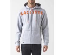 Sweatshirt mit Reißverschluss Kapuze Grau Meliert