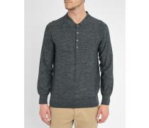 Grau melierter Pullover mit Poloshirtkragen