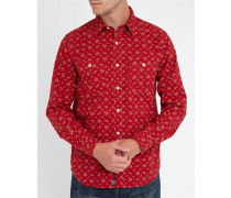 Rotes Hemd Flowers Print All Over