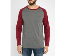 Bordeauxrotes Langarm-T-Shirt mit Raglanärmeln Louis