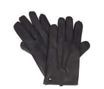 Schwarze gefütterte Leder-Handschuhe