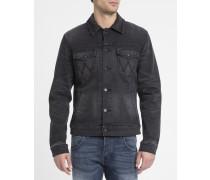 Schwarze ausgewaschene Jeansjacke Western Jacket