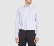 Marineblaues Vichy-Slim-Hemd mit kleinem Kragen aus Baumwollpopeline