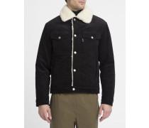 Schwarze Trucker Jacket aus Velourssamt mit Wollfutter