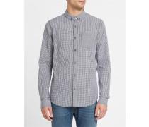 Anliegendes Hemd ButtonDown Kieran mit Mikrokaromuster in Schwarz und Weiß