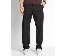 Chino-Hose Straight Fit Station Dunmore in Washed-Schwarz