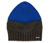 Grau melierte und blaue Mütze Wald