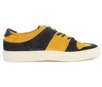 Sneaker Serena aus Veloursleder in Senffarbe und Marineblau