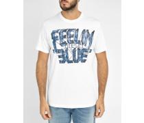 Weißes T-Shirt mit Rundhalsausschnitt mit Druckmuster T- Joe AA