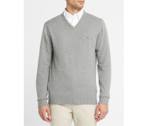 Grauer Pullover mit V-Ausschnitt aus Baumwolle und Kaschmir