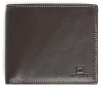 Portemonnaie aus braunem Leder mit Umschlag und 8 Fächern