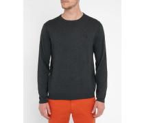 Feiner Pullover aus Baumwolle und Seide in Anthrazitgrau