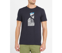 Marineblaues T-Shirt mit Kapitänsmotiv