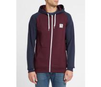 Zweifarbiges Kapuzensweatshirt De College mit Reißverschluss in Bordeauxrot und Marineblau