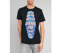 Schwarzes T-Shirt mit Druckmuster Palagia