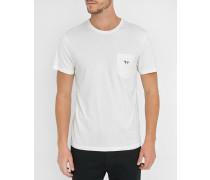 Weißes Trikolore-T-Shirt mit Aufnäher