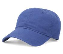 Blaue Baseball-Mütze aus Baumwolle mit seitlichem Krokodil-Logo