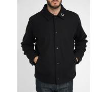 Schwarze Jacke aus Wolltuch mit kleinem Kragen und Ansteckbuttons