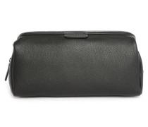 Kulturtasche aus schwarzem Leder mit Arzttaschen-Verschluss Bruno
