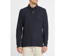 Marineblaues Premium-Piqué-Langarm-Poloshirt