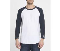 Weiß-marineblaues T-Shirt Baseball Raglan Todd Snyder