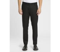 Schwarze Slim-Hose aus Wolle