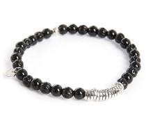 Armband aus schwarzen Perlen und runden Scheiben, 17,5 cm