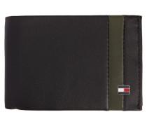 Schwarze Brieftasche Mini Stripe aus Leder