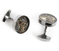 Manschettenknöpfe Gear Industrial aus Bronze, Emaille und Silber