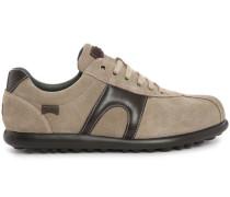 Niedrige Sneaker aus beigem Veloursleder und braunem Glattleder Pelotas XL