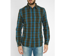 Blau-grün kariertes Slim-Hemd aus Flanell Pr S-TOKIE