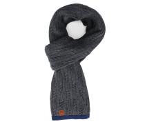 Schal mit Zopfmuster in Grau mit blauer Paspelierung