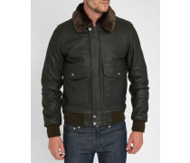 Braune Flight Jacket aus Leder mit abnehmbarem Fellkragen