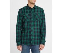 Anliegendes Flanellhemd Old Fella Shirt mit Karomuster in Blau und Grün
