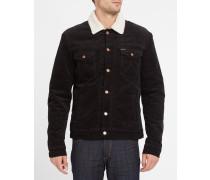 Jacke mit Lammfellkragen aus schwarzem Samt
