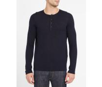 Marineblauer Pullover mit Knopfleiste Henley