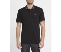 Schwarzes Slimfit-Poloshirt aus Baumwoll-Piqué mit weißer Borte und Brustlogo
